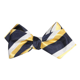 Navy Blue & Yellow Stripe Self Tie Diamond Tip Bow Tie