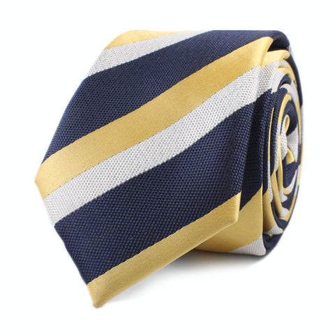 Navy Blue & Yellow Stripe Skinny Tie