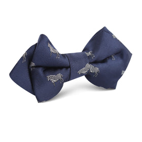 Navy Blue Zebra Diamond Bow Tie
