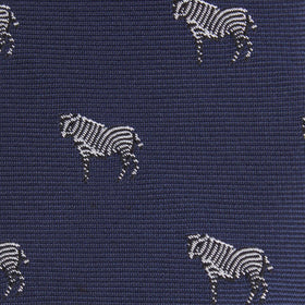 Navy Blue Zebra Kids Bow Tie
