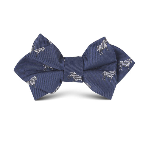 Navy Blue Zebra Kids Diamond Bow Tie