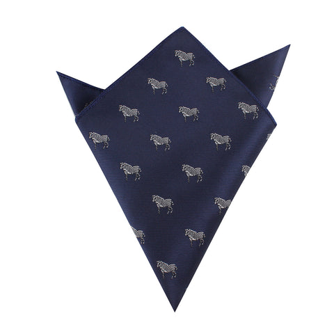 Navy Blue Zebra Pocket Square