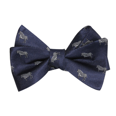 Navy Blue Zebra Self Tie Bow Tie
