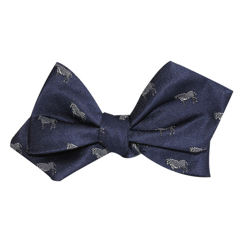 Navy Blue Zebra Self Tie Diamond Tip Bow Tie