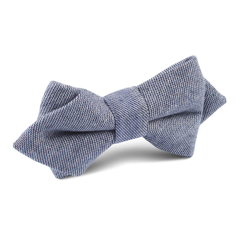 Navy Blue Zig Zag Linen Diamond Bow Tie