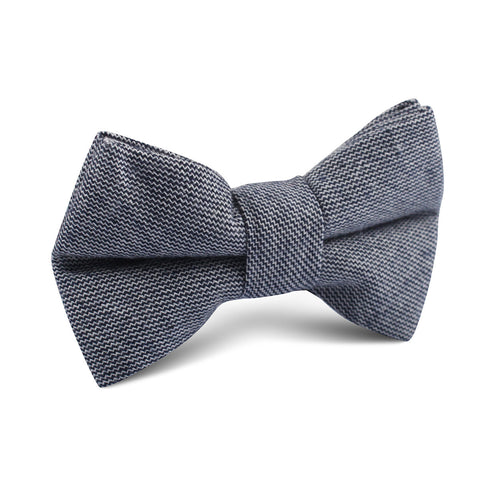 Navy Blue Zig Zag Linen Kids Bow Tie