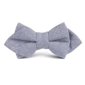 Navy Blue Zig Zag Linen Kids Diamond Bow Tie