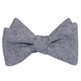 Navy Blue Zig Zag Linen Self Tie Bow Tie 1
