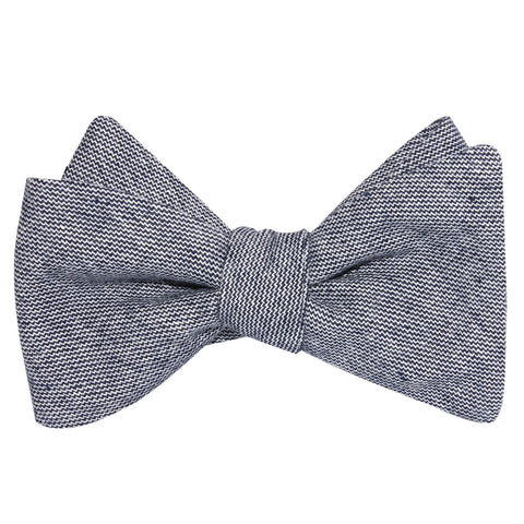 Navy Blue Zig Zag Linen Self Tie Bow Tie