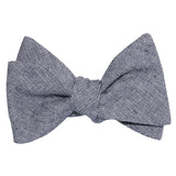 Navy Blue Zig Zag Linen Self Tie Bow Tie 2