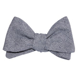 Navy Blue Zig Zag Linen Self Tie Bow Tie 3