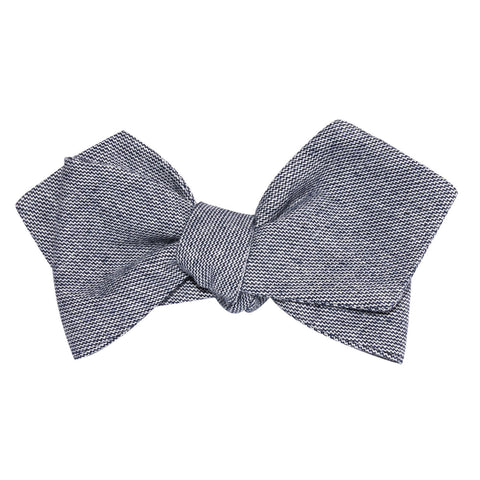 Navy Blue Zig Zag Linen Self Tie Diamond Tip Bow Tie