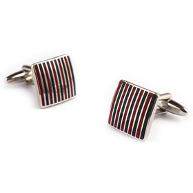 Navy Blue and Maroon Pinstripe Cufflinks