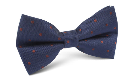 Navy Blue with Brown Polka Dots Bow Tie