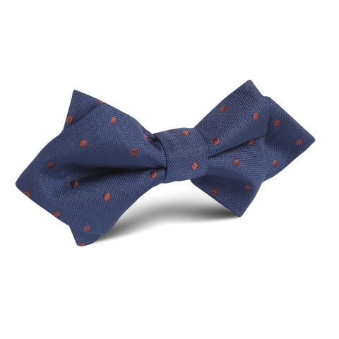 Navy Blue with Brown Polka Dots Diamond Bow Tie