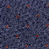 Navy Blue with Brown Polka Dots Fabric Self Tie Diamond Tip Bow TieM128