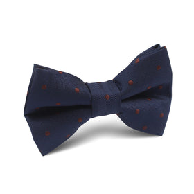 Navy Blue with Brown Polka Dots Kids Bow Tie