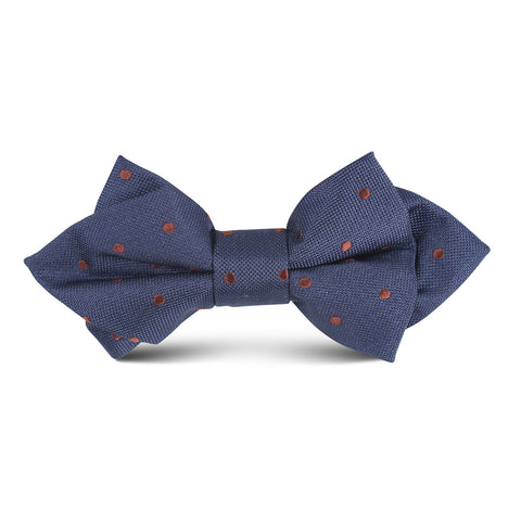 Navy Blue with Brown Polka Dots Kids Diamond Bow Tie