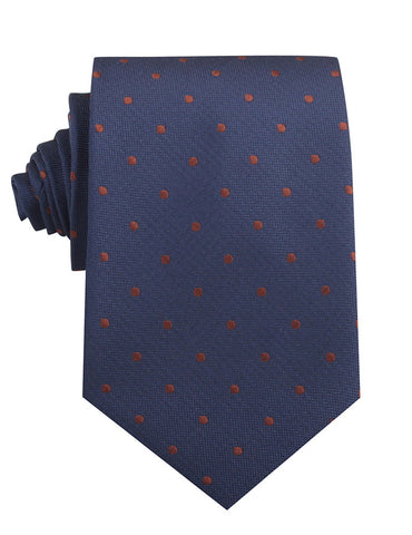 Navy Blue with Brown Polka Dots Necktie