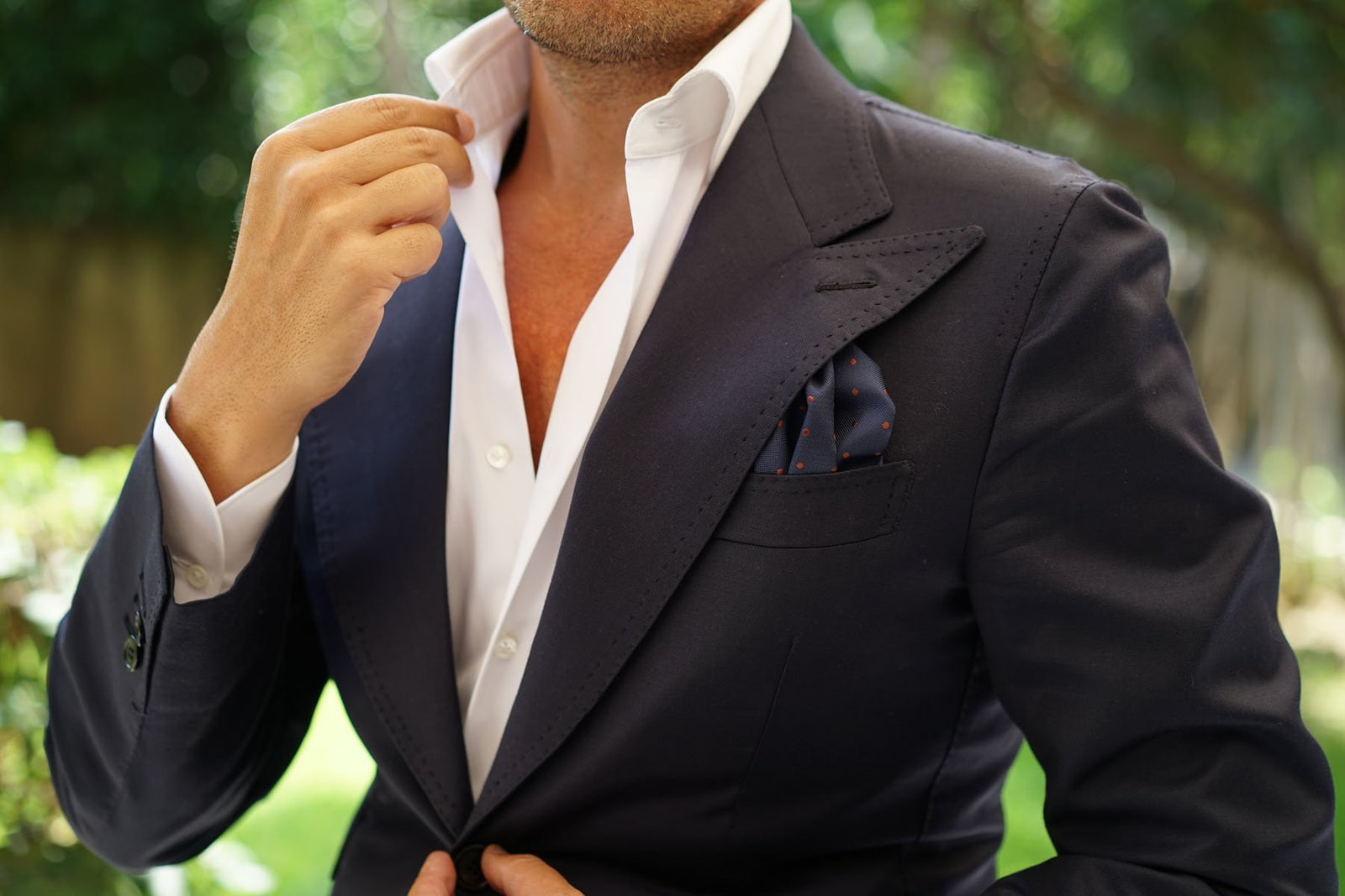 Navy Blue with Brown Polka Dots Pocket Square