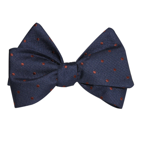 Navy Blue with Brown Polka Dots Self Tie Bow Tie
