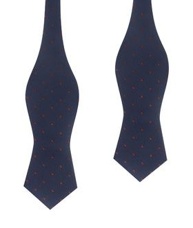 Navy Blue with Brown Polka Dots Self Tie Diamond Tip Bow Tie