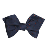Navy Blue with Brown Polka Dots Self Tie Diamond Tip Bow Tie 1