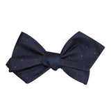Navy Blue with Brown Polka Dots Self Tie Diamond Tip Bow Tie 3