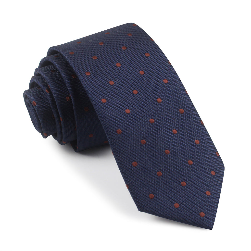 navy blue with brown polka dots tie slim thin