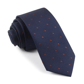 Navy Blue with Brown Polka Dots Skinny Tie