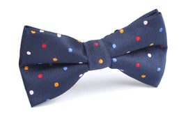 Navy Blue with Confetti Polka Dots Bow Tie