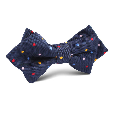 Navy Blue with Confetti Polka Dots Diamond Bow Tie