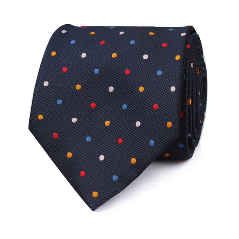 Navy Blue with Confetti Polka Dots Necktie