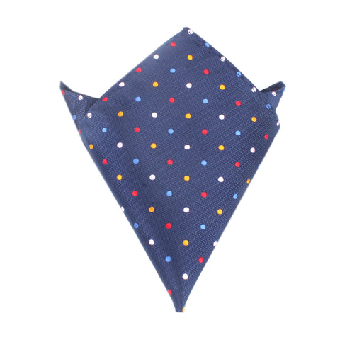 Navy Blue with Confetti Polka Dots Pocket Square