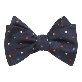 Navy Blue with Confetti Polka Dots Self Tie Bow Tie