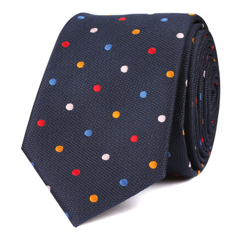 Navy Blue with Confetti Polka Dots Skinny Tie