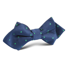 Navy Blue with Green Polka Dots Diamond Bow Tie