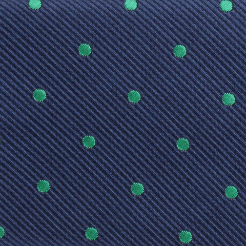 Navy Blue with Green Polka Dots Bow Tie