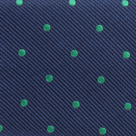Navy Blue with Green Polka Dots Kids Bow Tie
