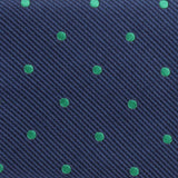Navy Blue with Green Polka Dots Fabric Skinny Tie M130