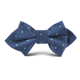 Navy Blue with Green Polka Dots Kids Diamond Bow Tie