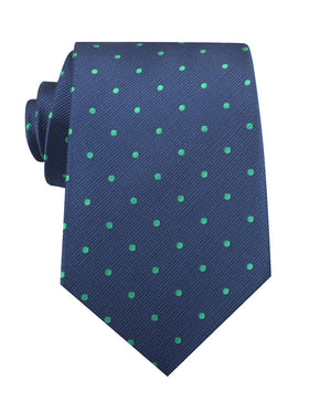 Navy Blue with Green Polka Dots Necktie