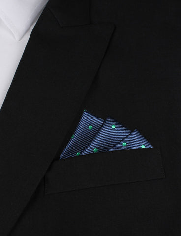 Navy Blue with Green Polka Dots Pocket Square