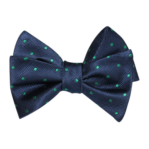 Navy Blue with Green Polka Dots Self Tie Bow Tie