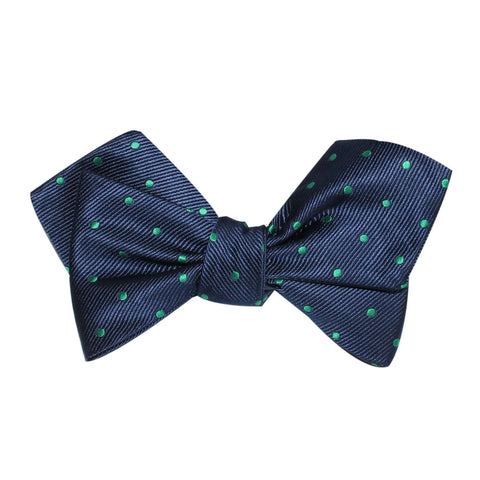 Navy Blue with Green Polka Dots Self Tie Diamond Tip Bow Tie