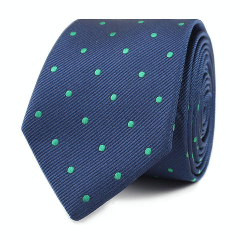 Navy Blue with Green Polka Dots Skinny Tie