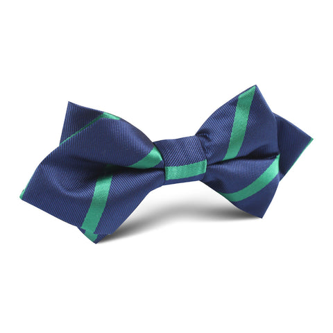 Navy Blue with Green Stripe Diamond Bow Tie