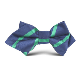 Navy Blue with Green Stripe Kids Diamond Bow Tie