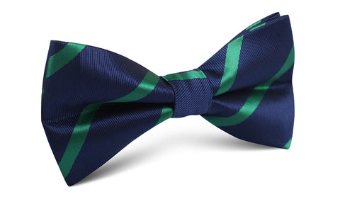 Navy Blue with Green Stripes Bow Tie