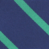 Navy Blue with Green Stripes Fabric Necktie M153